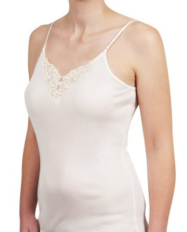 Thermal Underwear - Pure Merino Wool 200 gsm Cami with Motif Ivory