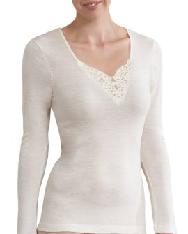 Thermal Underwear - Pure Merino Wool 200gsm L/Slve with Motif Ivory
