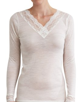 Thermal Underwear - Pure Merino Wool Midweight 150gsm L/Slve with Lace Ivory
