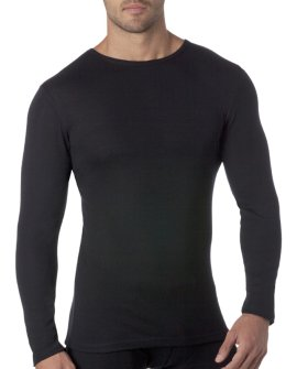 Thermal Underwear Men's Pure Merino Wool L/Slve Crew Neck Black and Grey