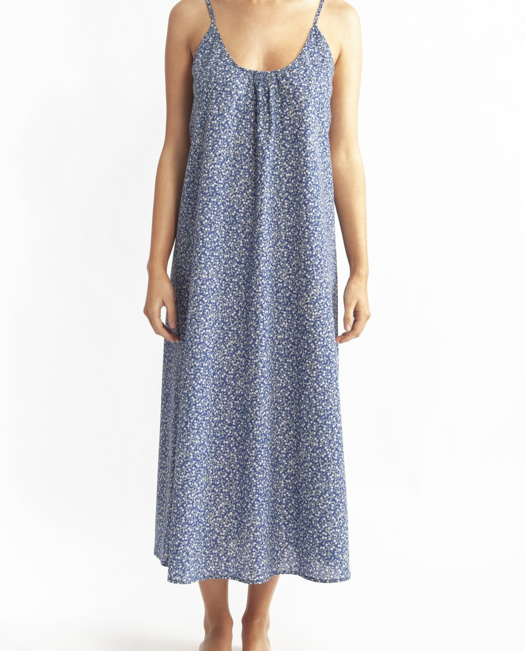 Morning Honey Cotton Voile Nightdress Long - Midnight Print
