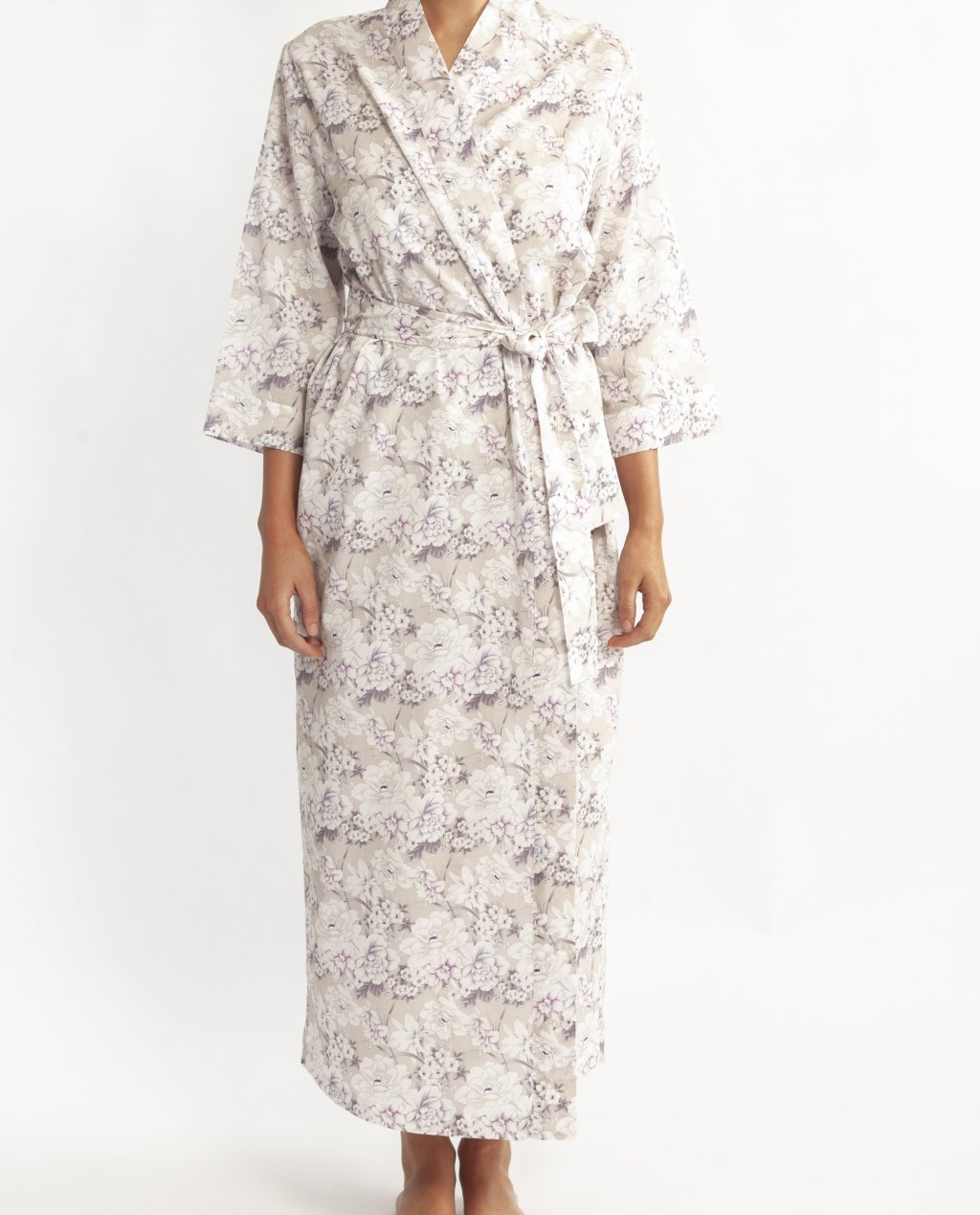 Morning Honey Cotton Voile Robe - Iris Print