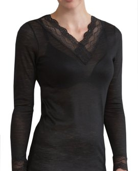Thermal Underwear - Pure Merino Wool Midweight 150gsm L/Slve with Lace Black
