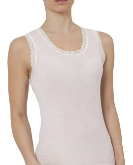 Wool Blend Thermal Vest with Lace Trim